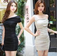 Sex Women Clothes Sleeveless One Shoulder Evening Dress Sin mangas Vestido