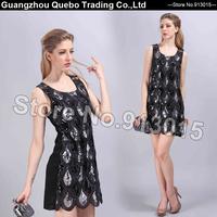 Women Summer High Fashion Slim Elegant Water Drop Patchwork Sequin Beading Scales Sleeveless Tank Short Dresses Black QBD209