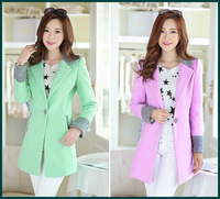 2014 New arrival lady's lovely woolen coat color contrast fleece lining rose lavender green winter warm outwear blazer SH-543