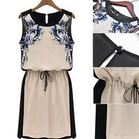 Classic Womens Floral Party Dress Casual Sleeveless Chiffon Dress Free&Drop Shipping