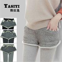 Autumn Winter Warm Thin Fleece Thicken Women's Knit False Two Leggings Pants A117 2015 New Arrival Fashion