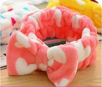 Cute face makeup beauty headband Korean bow lace hair hoop headband towel