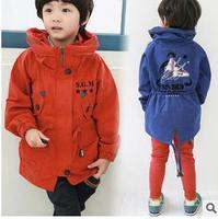 Quality new 2014 autumn boy's plane pattern high collar wind coat,fashion children's pure cotton S.G.M letter jacket for retails