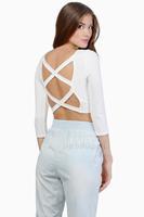 2014 women Chiffon Blouse Back cross hollow boat neck tunic shirts short waist exposing