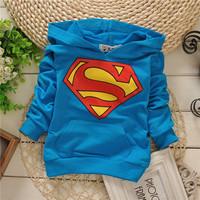 unisex boys hero superman simple cool hoody baby children sweatshirts hoodies drop shippig KT247R