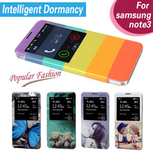 Flip leather Case For Samsung Galaxy Note 3 Cover For Galaxy N9000 With view Open Window 3D Printing(China (Mainland))