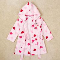 Peppa pig girls soft caroset children Nova kids wear long-sleeve lovely girl's pink cotton hearts robes F4250