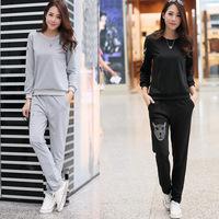 New 2014 Fashion Women Thick Tracksuit Hoodie Sports Set  (Hoodie,Pants Jogging ) Slim Plus Size Sweatsuit Sport Suit 2 Colors