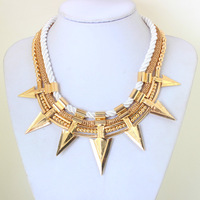 2014 Fashion Gold Triangle Spike Necklaces Lint Chain Metal Necklace for women KK-SC654