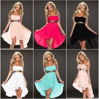 2014 New Arrival Sexy Women's Chiffon Dress Lace Overlay Sleeveless Mini Chiffon Clubwear Dresses 5 Colors Plus Size M L XL XXL