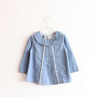 Free shipping,2014 new item,children autumn Washed denim shirt girl top denim