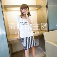 2014 new Korean version of Slim short-sleeved round neck letters striped two-piece sling bag hip dress SP9337