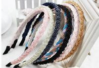 fashion hand woven Crystal covered satin headband lot of hair band accessory