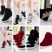 new 2014 Autumn winter Fashion Wedge Sneakers women, Leather&PU, Brand , Height Increasing 6.8cm,  Women's Shoes tenis feminino