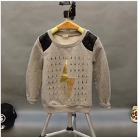 2014 new autumn children's clothing wholesale boys long sleeve hole lightning bronzing cotton T-shirt shirt