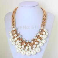 2014 Hot Selling Gold Plated Tassel Pearl Statement Necklaces Elegent Necklace for Dress KK-SC668