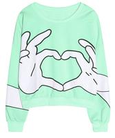 2014 Autumn New Hoodies For Women Fashion Harajuku Finger Printed Pullovers O-neck Short Sweatshirts Casual Wear HO8036