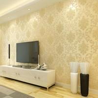 Damascus European style 3d wallpaper of stereo flocking glitter wallpaper bedroom living room background papel de parede tapete
