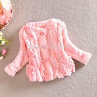 New 2014 Children Coat Baby Girls Fashion Outerwear Faux Fur Girls' Warm Clothes Child Winter Jacket Cardigan