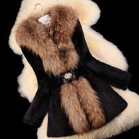 winter Ladies' Natural Rabbit Fur Coat Jacket Raccoon Fur Collar Women Fur  Outerwear Coats Plus Size russia e-packet free ship