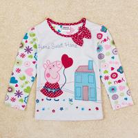 Girls Peppa pig clothing Nova new fashion girl t shirt Embroidery peppa cartoon t-shirt for girls kids F5212