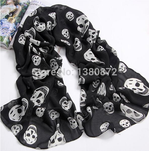 Autumn Fashion Women's Black White Punk Skull Skeleton Head Print Long Scarf Shawl YO-MO108(China (Mainland))