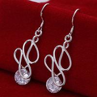 Silver Plate earrings 925 sterling silver fashion jewelry earrings beautiful earrings high quality Twisted Stone Earrings E202
