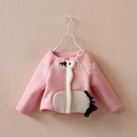 New 2014 Children Coat Baby Girls Fashion Outerwear Cute Swan Girls' Autumn Clothes Child Fall Jacket Zipper