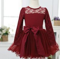 2014 Spring  Autumn  Fashion  Girls  New Pattern  Lace  Gauze  Printing  Bow  Full Dress  Dress Lace Girl Dress  5pcs/lot hyg
