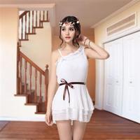 Free gif8360 female Korean version of the pastoral style summer dress women Slim temperament shoulder chiffon dress Dress child