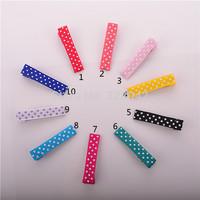 Trail order 10 colors polka dots grosgrain ribbon covered Barrettes Clips Alligator Crocodile Clips DIY accessories 100pcs/lot