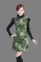 Free shipping 2014 hot sale National Trend clothing winter dress QiPao woolen fabric Cheongsam Peacock dress 6 color Y001X
