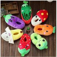 women autumn winter warm vegetable and fruit design home slippers  plush  floor slipper 2014 creative gift