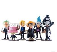 ONE piece black coat Play Set  6pcs/lot PVC 6-10cm High Action Figures Classic Toys