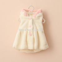 New 2014 Children Coat Baby Girls Fashion Vests Button Girls Outerwear Warm Autumn Vest Kids Cute Faux Fur Waistcoats