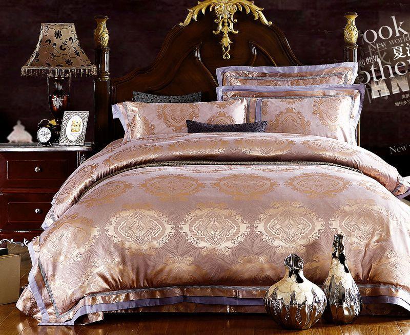 Home textile 4 pc jogo de cama de luxo tribute seda jacquard capa de edredão roupas de cama roupa de cama tampa de cama preço de atacado(China (Mainland))