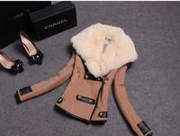 Winter Woollen Coat Women Outerwear Genuine Rabbit Fur Collar Thick Khaki Black Wool Jacket Parka Casacos Femininos 2014 Casaco