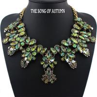2014 New Fashion Women jewelry ZA Brand Crystal Necklaces & Pendants Luxury Acrylic Collar Statement necklace