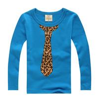 Free Shipping boy's long sleeve tie print t shirt kids unique t-shirt baby casual