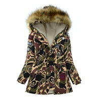 2014 Winter jacket women parka fur liner Camouflage outerwear women medium long cotton-padded jacket with large fur collar