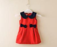 2014 girl lapel bowknot vest dress ,girls dresses, 5pcs/lot  JHQ01