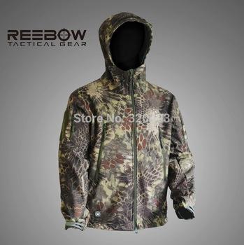 Открытый горец камуфляж охота куртка мужчины мягкая оболочка спорт водонепроницаемый ...