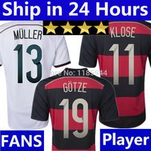 4 Stars OZIL MULLER KLOSE GOTZE Germany Jersey 2014 Soccer Jerseys Germany World Cup 2014 Home White Away Black Football Shirt(China (Mainland))