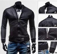 2014 Men's PU Leather Jacket Fashion Plaid Slim Fit Leather Jackets For Men Top Quality For Men Black Size M-XXL Warm Thinck