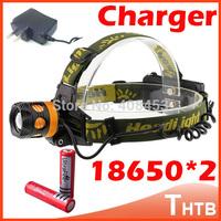 2000 Lumens CREE XM-L XML T6 LED Headlamp Headlight Flashlight Head Lamp Light torch 18650 + AC Charger for Camping miners light