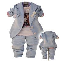 Free shipping 2014 models girls three-piece denim, printed T shirt Spring Jacket