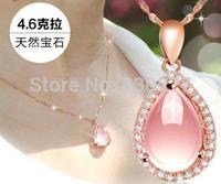 Qing ai female rose gold natural rose quartz pendant necklace  qd238