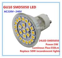 Ceramic Led Spotlight 220V- 240V 5W GU10 LED Bulb lamp light 24 SMD5050 White warm white home lighting Free shipping