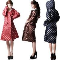 Newest fashion slim siamese outdoor rainwear adult womens raincoats with hood windbreaker style single person rainwear