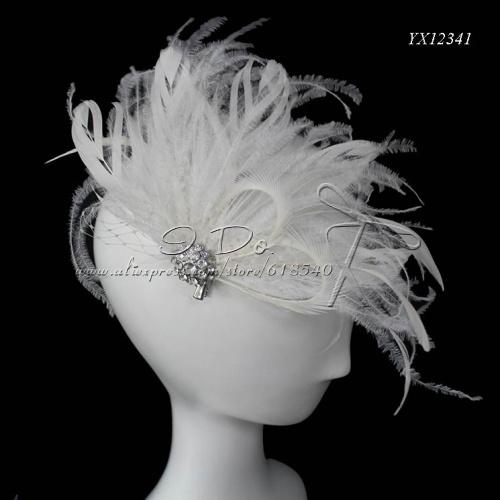 Free Shipping New Arrival White Feather Bridal Headpiece/Headpiece Bridal/Wedding Fascinator/Fascinator Wholesale YX12341(China (Mainland))